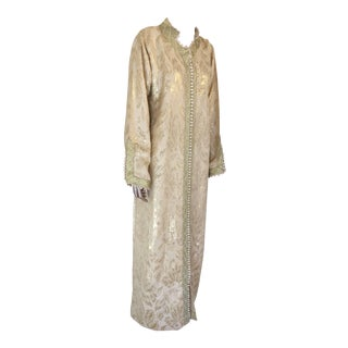Moroccan Metallic Gold Brocade Kaftan, Maxi Dress Kaftan For Sale