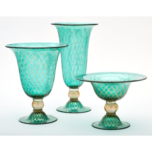 Modern Set of Three Green and Gold Murano Glass Vases For Sale - Image 3 of 11