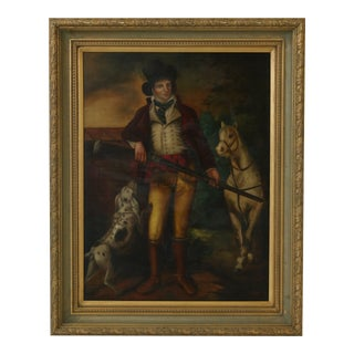 Gold Framed Oil Painting on Canvas Man W. Dog & Horse For Sale