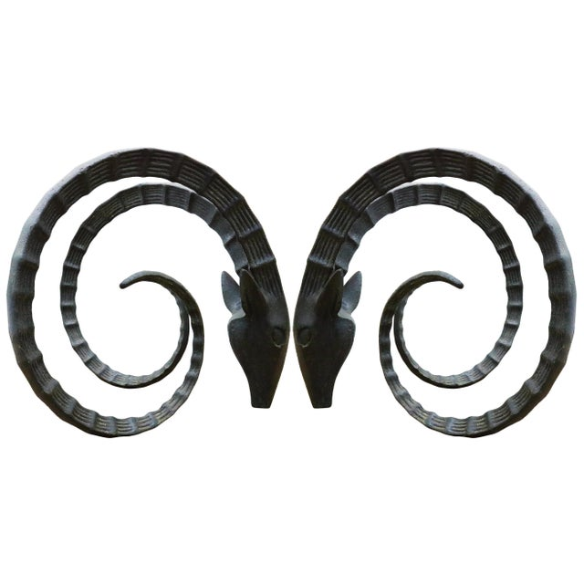 Metal Ibex Rams Head Dining Table Bases - a Pair For Sale - Image 7 of 7