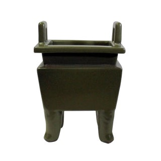 Chinese Handmade Dark Olive Green Ceramic Accent Ding Holder For Sale