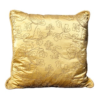 Mid C. Gold Solid Down Filled Embossed Pillow For Sale