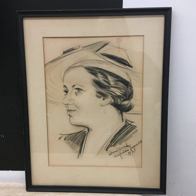 Vintage 1937 Framed Sketched Portrait For Sale In Providence - Image 6 of 6