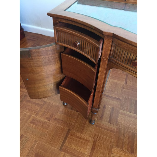 Bow Front Tapestry Top Inlaid Wooden Writing Desk - Image 8 of 10