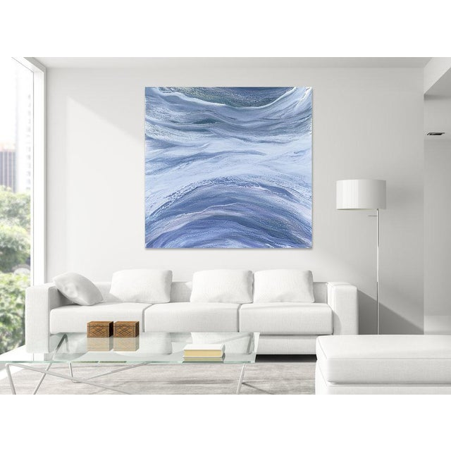 Abstract acrylic painting, Gallery-wrapped canvas sides painted silver. Ready to hang. Framing optional. Signed and Dated...