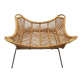 1960's Vintage Janine Abraham & Dirk Jan Rol Style Rattan & Iron Coffee Table For Sale