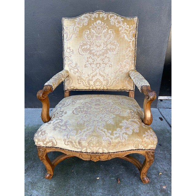 Single 18th C. French Regence Walnut Carved Arm Chair For Sale - Image 12 of 12