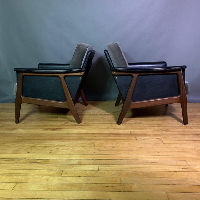 1970s Pair Danish Design Black Naugahyde Wrapped Lounge Chairs For Sale - Image 5 of 13