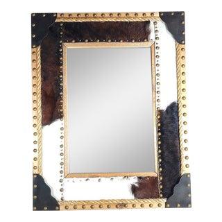 Rustic Western Genuine Cowhide Mirror