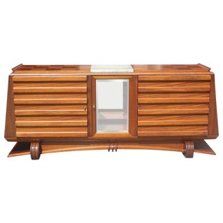 1940s French Masterpiece Gaston Poisson Mahogany Sideboard For Sale