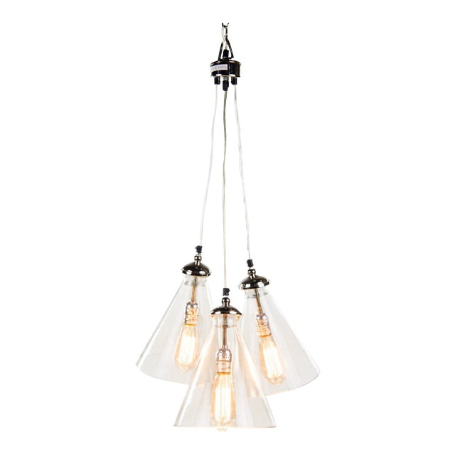 Triple Cone Hanging Light For Sale