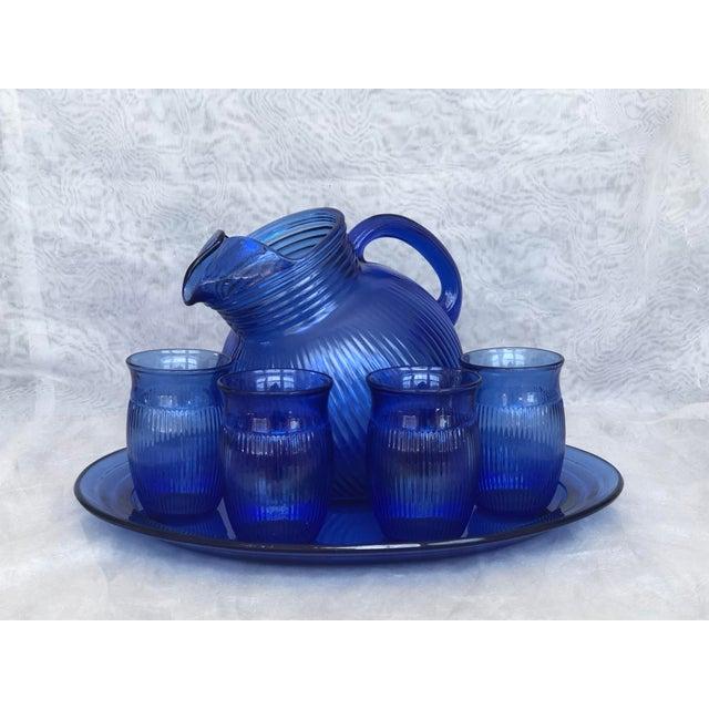 Vintage Cobalt Blue Glass Lemonade Set- 6 Pieces For Sale - Image 12 of 13