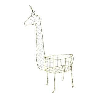 20th Century Minimalist Wire Giraffe Basket For Sale