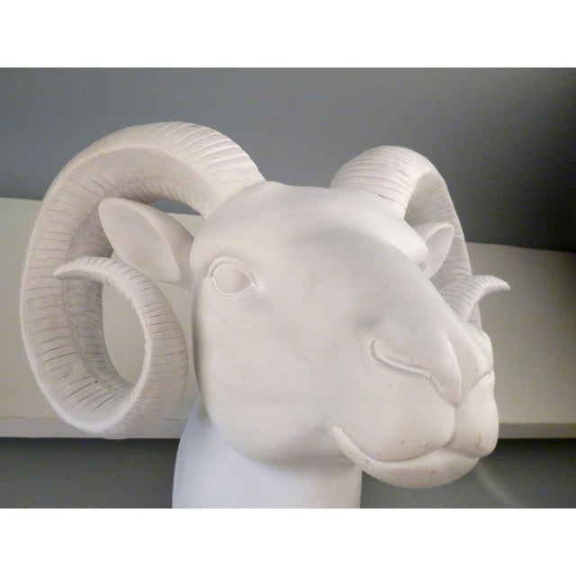 Vintage White Plaster Rams Head Wall Art For Sale - Image 4 of 9