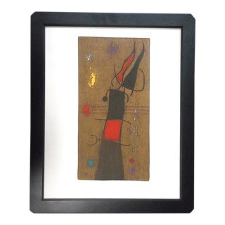 """Vintage Mid 20th C. Modern Limited Edition Miro Lithograph-Signed-""""Femme Et Oiseau"""" For Sale"""