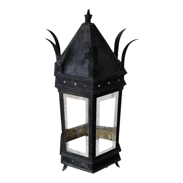 French Iron and Glass Lantern For Sale