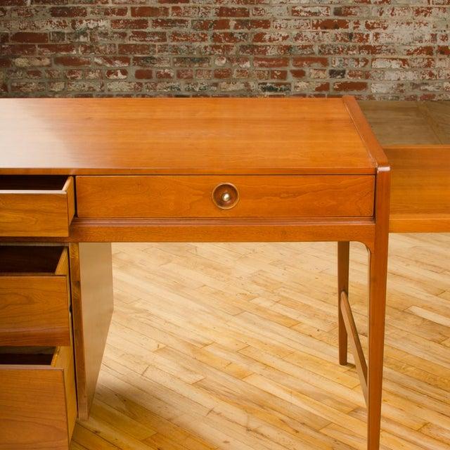 Mid-Century Modern Mid-Century Walnut Desk With Side Extension Designed by John Van Koert for Drexel For Sale - Image 3 of 13