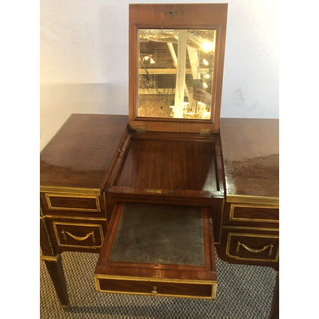 Louis XVI Style Gilt Bronze Parquetry & Marquetry Dressing Table, Desk or Vanity For Sale - Image 10 of 13
