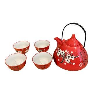Asian Style Orange Tea Set - 5 Piece Set For Sale