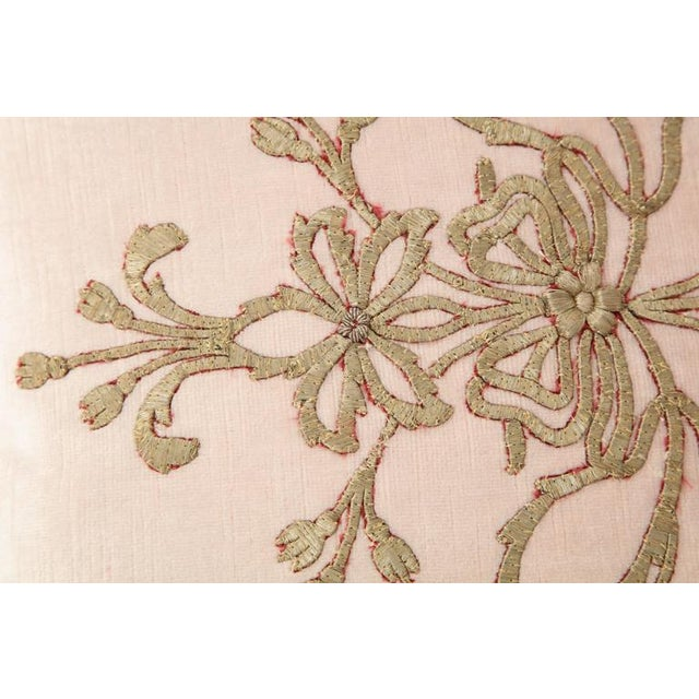 Empire Early 21st Century Vintage Pillow With Antique Embroidery For Sale - Image 3 of 9