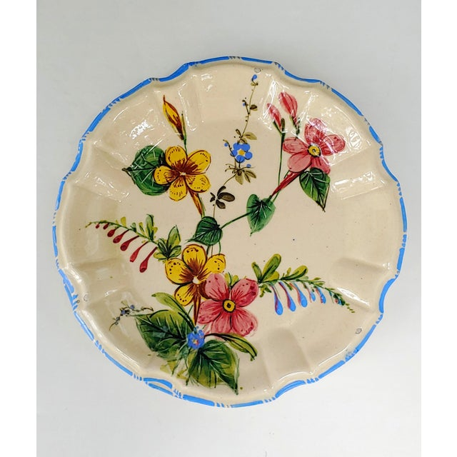 Six Antonibon Potteries Nove, Italy Rose pattern plates. Entirely hand painted, a visual delight.