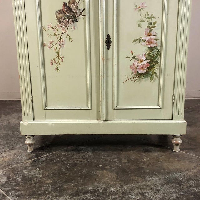 Green Antique Belle Epoque Painted Cabinet For Sale - Image 8 of 13