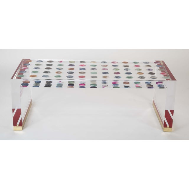 Unique Contemporary Lucite Coffee Table With Agate Inlaid Discs For Sale - Image 10 of 13