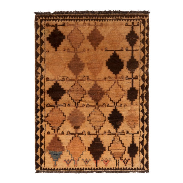 Antique Gabbeh Rug Tribal Beige Brown Hand-Knotted Persian Diamond Pattern For Sale