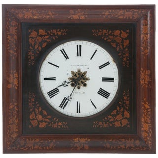 19th Century Belgian Inlay Wall Clock by B.J. Vanderveken For Sale