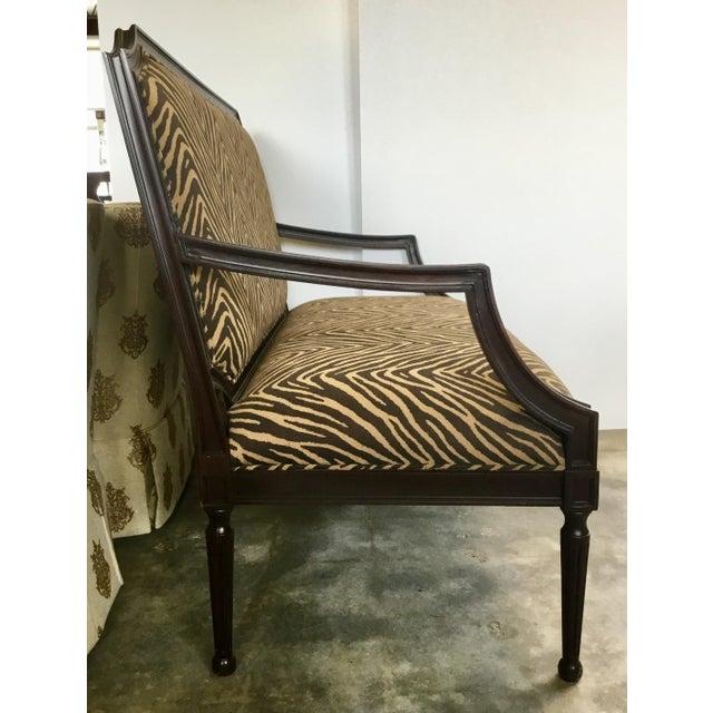 Hollywood Regency Modern Zebra Pattern Settee For Sale - Image 3 of 8