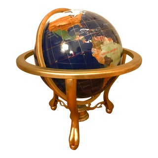 "Vintage 21"" Gemstone Globe on Stand W/ Compass For Sale"