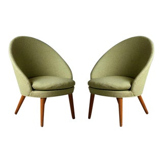 Danish Midcentury Pair of Easy Lounge Chairs Model 301 by Ejvind Johansson, 1958 For Sale