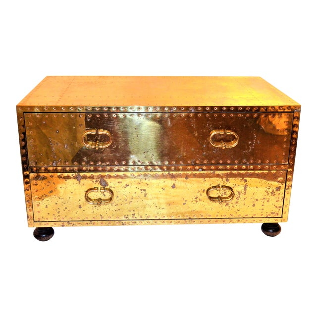 (Final Markdown) 1970s Hollywood Regency Sarreid Brass Clad Two Drawer Chest For Sale