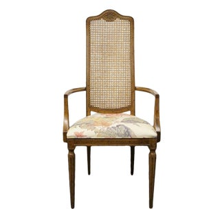 Late 20th Century Vintage Drexel Heritage Country French Regency Cane Back Arm Chair For Sale
