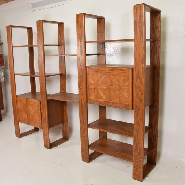 1970s Mid Century Modern Solid Oak Wood Wall Unit by Lou Hodges For Sale - Image 5 of 11