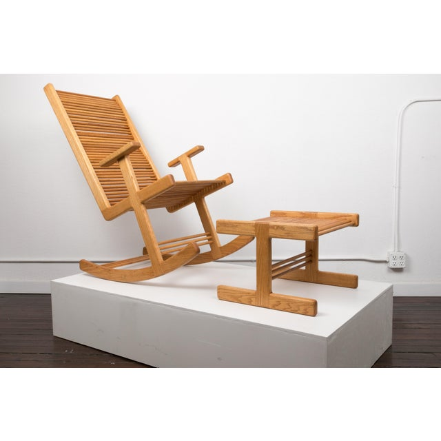 A 1980s Hawaiian studio craft rocking chair and ottoman by Stephen Hynson. The chair and ottoman are made entirely of red...