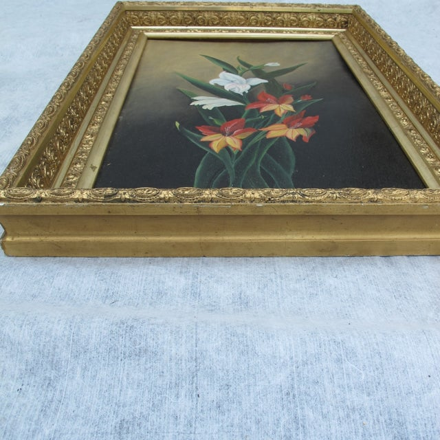 Framed Lilies Oil Painting - Image 5 of 9