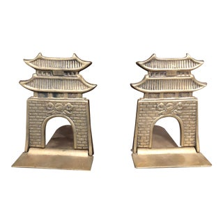Brass Chinoiserie Bookends - a Pair For Sale