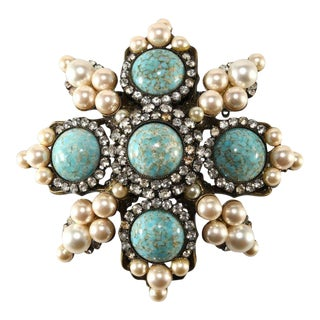 Lawrence Vrba 3.75 Inch Turquoise Cabochon Rhinestone Brooch Pin For Sale