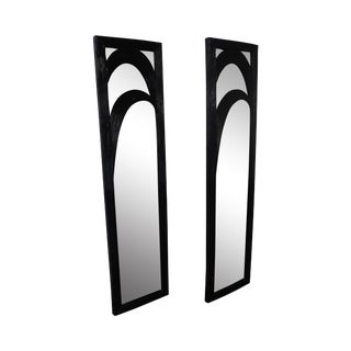Mid-Century Black Painted Reeded Design Mirrors - A Pair For Sale