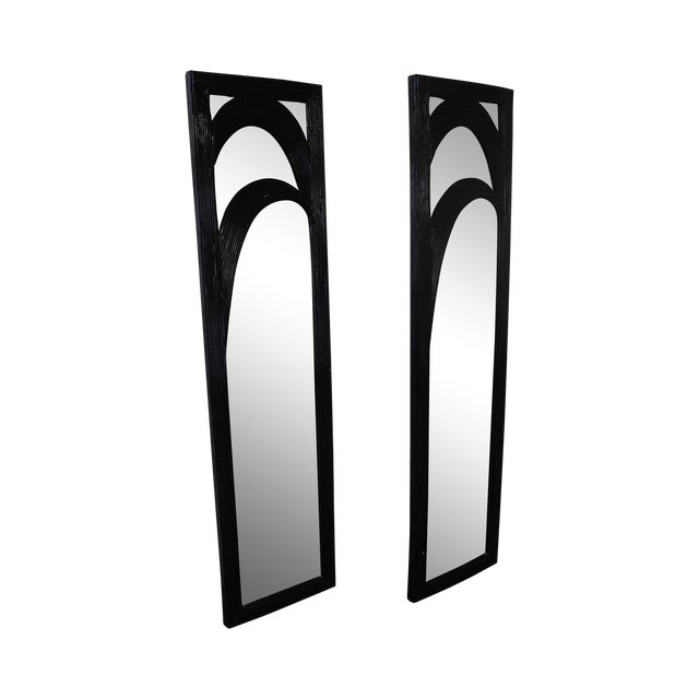 Mid-Century Black Painted Reeded Design Mirrors - A Pair - Image 1 of 10