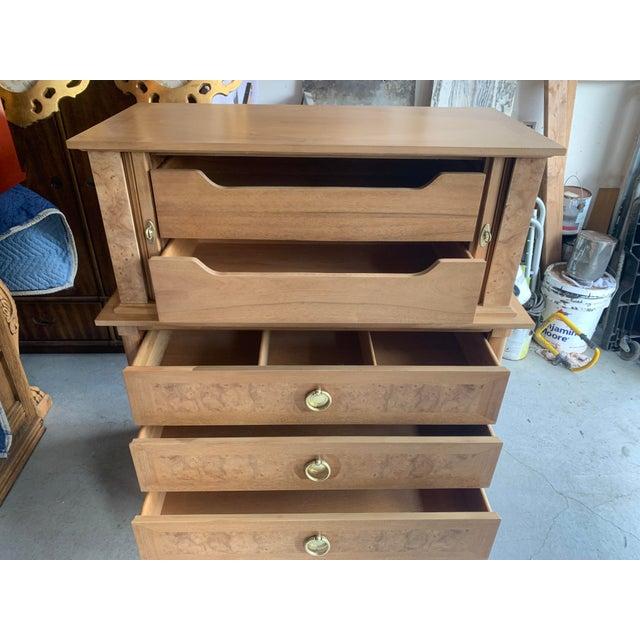 Mid-Century Modern Mid-Century Burled Wood Highboy Dresser For Sale - Image 3 of 13