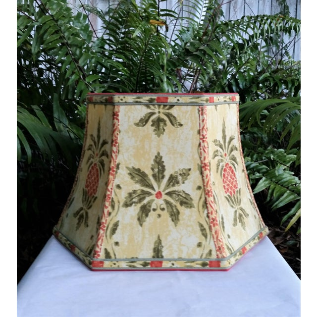 French Vintage Pineapple Greeff Fabric Mustard Olive Green and Coral Lampshade For Sale - Image 3 of 11