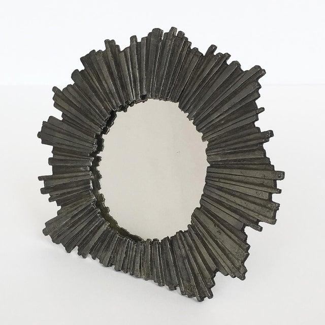 Brutalist Brutalist Starburst Pewter Frame or Mirror For Sale - Image 3 of 9