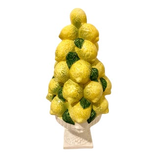 Vintage Italian Majolica Lemons Topiary For Sale