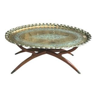 1960s Moroccan Brass Oval Tray Table For Sale