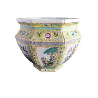 """Famille Jaune Porcelain Jardinière 15"""" W by 11.75"""" H For Sale"""