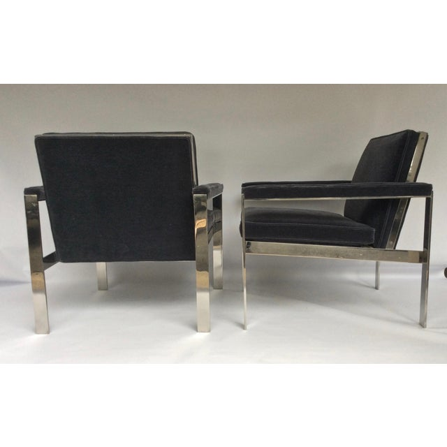 1970s Knoll Chrome & Mohair Lounge Chairs - A Pair For Sale In New York - Image 6 of 10