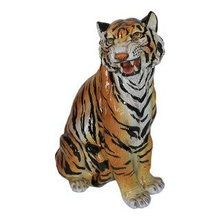 Italian 1970s Terracotta Seated Tiger Figure For Sale
