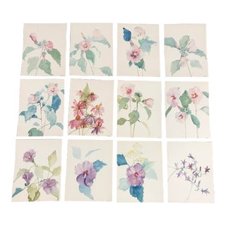 Handpainted Floral Watercolors - Set of 12 For Sale